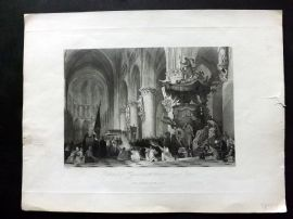 After Allom C1850 Antique Print. Cathedral St Gudule, Brussels, Belgium